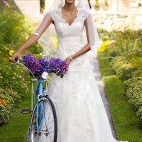Cap Sleeve Lace Over Satin Gown with Illusion Back - David's Bridal- mobile