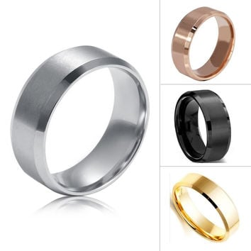 Size 5-14 Stainless Steel Rings for Men Women Wedding Band Silver Black Gold Rose 8mm Ring Y8 SM6