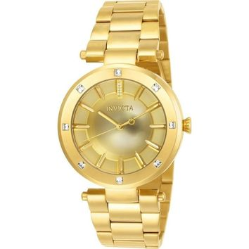 Invicta Women's 23728 Angel Quartz 3 Hand Gold Dial Watch