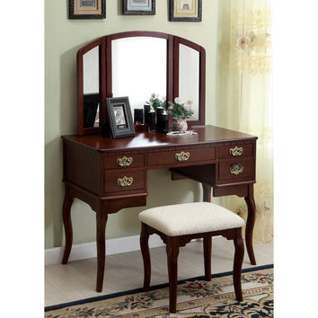 Furniture of America Doris Solid Wood Vanity Table and Stool Set | Overstock.com Shopping - The Best Deals on Bedroom Mirrors