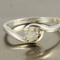 White Raw Diamond Engagement Ring on Sterling Silver - 6 Prong Set Solitaire Ring - Rough Uncut Diamond Stone - April Birthstone