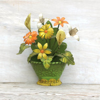 Circa 1950s Cut Tin Flower Pot With Tin Flowers by ivorybird