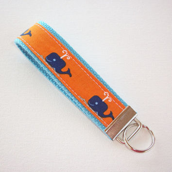 Chevron Key FOB / KeyChain / Wristlet - Blue whales orange