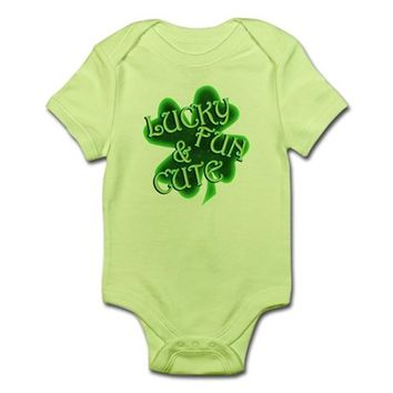 St. Patrick's Day Four Leaf Clover Cutie Baby Light Bodysuit