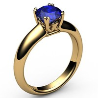 Gold ring Celtic ring Sapphire Ring Engagement Ring Solitaire Ring 18K Yellow gold September Birthstone