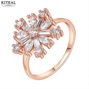 Rose Gold Colour Size 8 Snowflake Ring