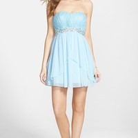 Junior Women's Speechless Glitter Lace Embellished Strapless Party Dress