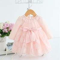 Lace bownot baby dress princess baby clothes autumn for 0-2 baby girls dress children kids clothing