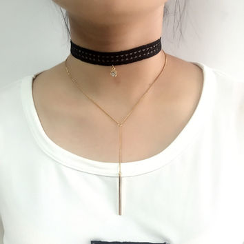 2016 New Product 2 Layer Gothic Black Lace Chocker Gold Chain Strip Pendant Necklace Colar Vintage Choker Necklace Women Collane