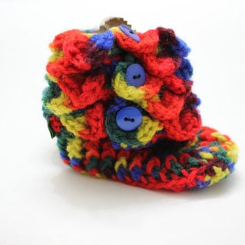 "Crocodile Stitch Booties - Handmade Crochet RAINBOW Baby Crocodile Baby Booties, Ready to be shipped TODAY / 4.5"" long"