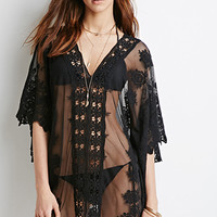 Embroidered Mesh Poncho Top