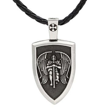 SHIP BY USPS: TTKP Amulet Men necklace Archangel St.Michael Protect Me Saint Shield Protection pendant jewelry 2 Color