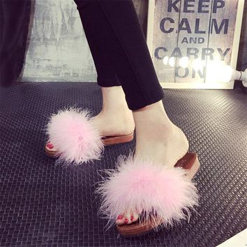 Slippers Fur Furry Open Toe Women Casual Flat Shoes Soft Warm Fluffy Slip On Cute Home