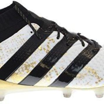 adidas Men's ACE 16.1 PRIMEKNIT FG Soccer Cleats (White, Gold, Black)