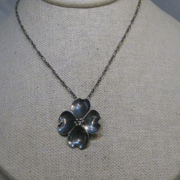 "Vintage Sterling Silver Dogwood Necklace, Stuart Nye, 16"", 4.56 Grams, 1960's Era"