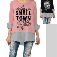 Just A Small Town Girl Cuff Sleeve Top - Black or Mauve