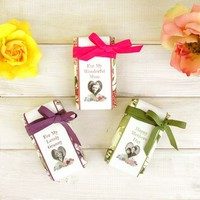 Floral Soap With Personalised Linen Bookmark