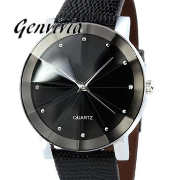 New Fashion 2017 Luxury Rhinestone Watches Men Women Stainless Steel Quartz Leather Band Wrist Watch Men