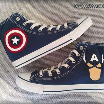 VONR3I Captain America Custom Converse / Painted Shoes