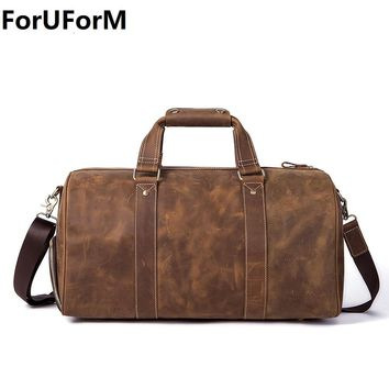 Men Travel Bag Leather Bag Vintage Brown Designer Travel Overnight Tote Large Capacity Luggage Bag Shoulder Travel Bag LI-2112