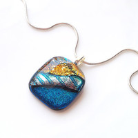 Teal Blue, Aqua Silver and Gold Necklace - Fused Dichroic Glass