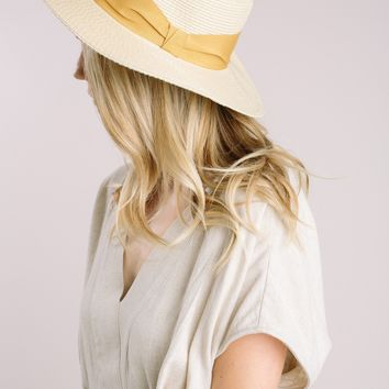 Carmela Mustard Ribbon Boater Hat