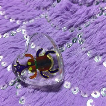 Holographic Stag Beetle or Weevil Resin Transparent Heart Pin