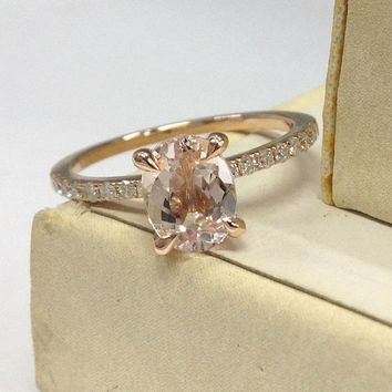Morganite Engagement Ring 14K Rose Gold!Diamond Wedding Bridal Ring,6x8mm Oval Cut Pink Morganite,Promise,Claw Prongs,Can make matching band
