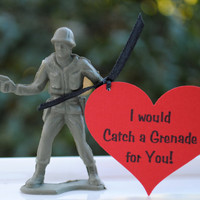 Army Men Valentines- Catch a Grenade Set of 10