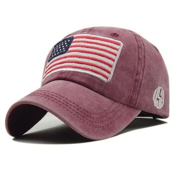 Sports Hat Cap trendy  Vintage USA Flag Summer Outdoor Sunhat Sports Hiking Cap Snapback Bone Ponytail Baseball Cap Trump Hat Streetwear Women Men Hats KO_16_1