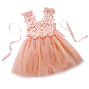 Summer Baby Girl Dress Lace Flower_