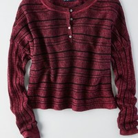 AEO Women's Ribbed Henley Sweater