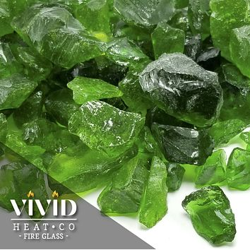 "VIVID Heat - Vibrant Luster ""Emerald Green"" 1/2"" - 3/4"" Large Rough Gem Size, (Price by the Pound) - Tempered Fire Glass Rock for Fireplace and Fire Pit"