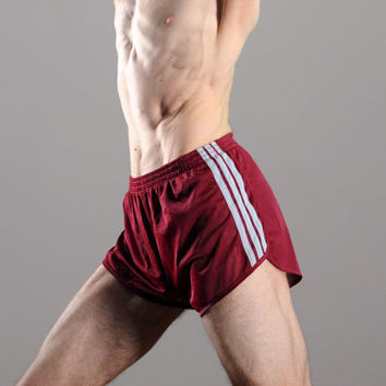 vintage 70s 80s shorts three stripe Adidas burgundy maroon marathon running trunks small XS