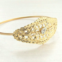 Bridal Bracelet, Gold Bangle Bracelet, Arm Cuff, Wedding Bracelet , Romantic Bracelet, Filigree Bracelet, Gold Bracelet