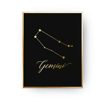 Zodiac Print, Gemini Constellation, Real Gold Foil Print, Gemini Print, Zodiac Sign, Gemini Zodiac Poster, Zodiac Constellation, Astrology