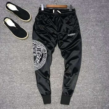 VERSACE Fashion Men Women Cool Print Sport Pants Trousers Sweatpants Black