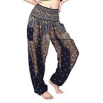 VINTAGE HANDMADE Cotton Trousers Wide Hippie Boho Yoga Pants Festival Summer 208