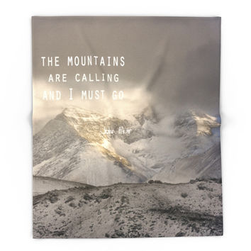 Society6 The Mountains Are Calling And I Must Go John M Blanket