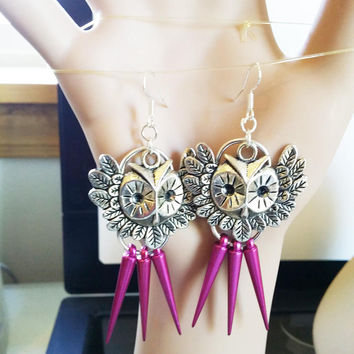 silver owl chandelier earrings long dangles drop owl charm big earrings red earrings handmade jewelry by Elizavella