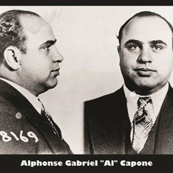 AL CAPONE mug shot VINTAGE PHOTO POSTER b/w famous gangster COLLECTORS 24X36