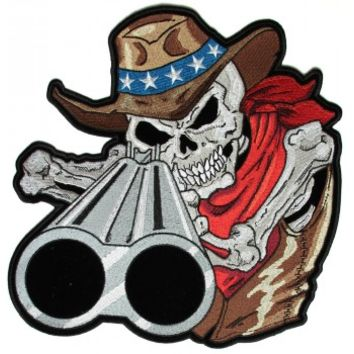 Shotgun Barrel Willy Skull Cowboy Large Back Patch