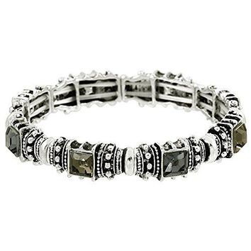 Falari Vintage Acrylic Crystal Antique Silver Stretch Bracelet