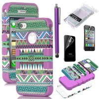 Pandamimi ULAK 3-Piece Hybrid High Impact Case Tribal Purple Silicone for iphone 4 4S +Screen Protector+Stylus:Amazon:Cell Phones & Accessories