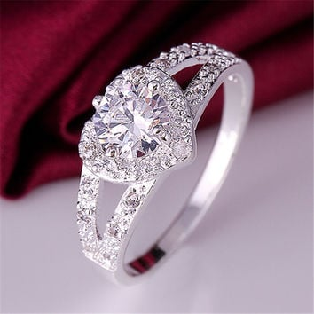 New cute hot sale silver ring jewelry fashion charm woman wedding stone lady high quality crystal