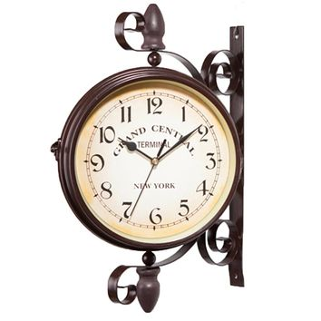 Daily Wall Suspension Hanging Double Dial Alarm Clock Timer Bell Horologe Calculagraph Watch Retro Crafts Home Decor