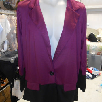 Stitch Between Women's Blazer, Maroon/Black, XXL