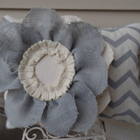 "Gray and oyster chevron burlap pillow  with a large Burlap Flowerchevron burlap, decorative pillow, couch pillow,14"" x 18"""