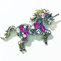 Bold Sparkle Unicorn Brooch in Miami Multicolor and Gold