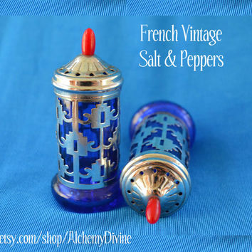 Vintage Salt & Peppers, Cobalt blue Glass, Silver Filigree, French, 1940's-1960's. By Alchemy Divine